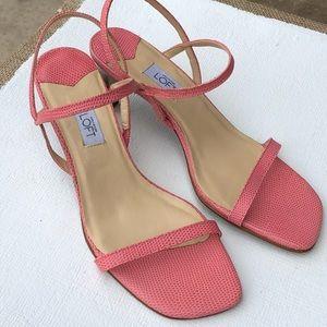 Ann Taylor Loft Melon Lizard Print Sandals